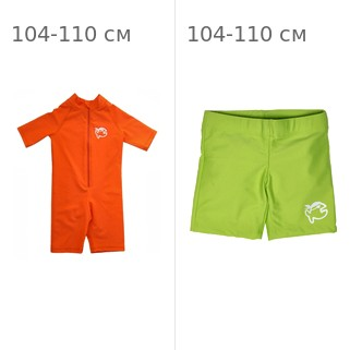 УФ-защитный детский гидрокостюм IQ-UV Shorty Jolly Fish, рост - 104-110 см, возраст - 4-5 лет, оранжевый + Шорты плавательные детские IQ-UV