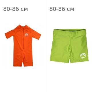 УФ-защитный детский гидрокостюм IQ-UV Shorty Jolly Fish, рост - 80-86 см, возраст - 1-1,5 года, оранжевый + Шорты плавательные детские IQ-UV