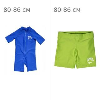 УФ-защитный детский гидрокостюм IQ-UV Shorty Jolly Fish, рост - 80-86 см, возраст - 1-1,5 года, синий + Шорты плавательные детские IQ-UV