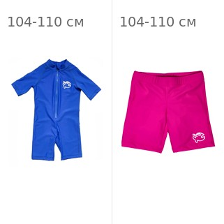 УФ-защитный детский гидрокостюм IQ-UV Shorty Jolly Fish, рост - 104-110 см, возраст - 4-5 лет, синий + Шорты плавательные детские IQ-UV
