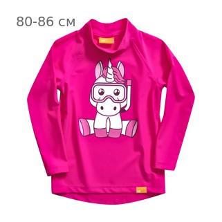 УФ-защитная детская футболка c рукавом IQ-UV Unicorn Kids, рост - 80-86 см, возраст - 1-1,5 года, цвет - розовый