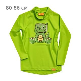 УФ-защитная детская футболка c рукавом IQ-UV Dino Kids, рост - 80-86 см, возраст - 1-1,5 года, цвет - салатовый (зеленый)