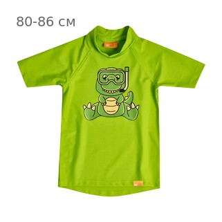УФ-защитная детская футболка IQ-UV Dino Kids, рост - 80-86 см, возраст - 1-1,5 года, цвет - салатовый (зеленый)