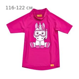 УФ-защитная детская футболка IQ-UV Unicorn Kids, рост - 116-122 см, возраст - 6-7 лет, цвет - розовый