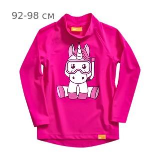 УФ-защитная детская футболка c рукавом IQ-UV Unicorn Kids, рост - 92-98 см, возраст - 2-3 года, цвет - розовый