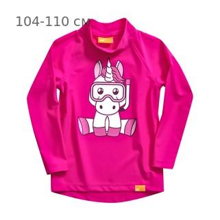 УФ-защитная детская футболка c рукавом IQ-UV Unicorn Kids, рост - 104-110 см, возраст - 4-5 лет, цвет - розовый