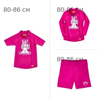УФ-защитная детская футболка IQ-UV Unicorn Kids, рост - 80-86 см, возраст - 1-1,5 лет, цвет - розовый + УФ-защитная детская футболка c рукавом IQ-UV + Шорты плавательные детские IQ-UV