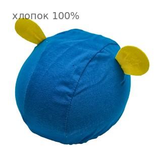 Шапочка для плавания грудничковая ЧудоТрусики С УШКАМИ БИРЮЗОВАЯ, материал - хлопок 100%, цвет - синий (бирюзовый)