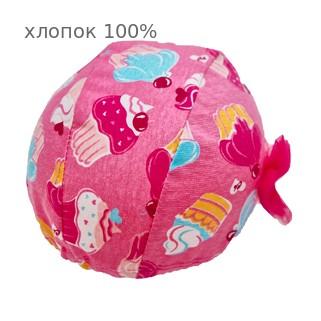 Шапочка для плавания грудничковая ЧудоТрусики  КЕКС В РОЗОВОМ С РОЗОВЫМ ФАТИНОВЫМ БАНТОМ, материал - хлопок 100%, цвет - розовый