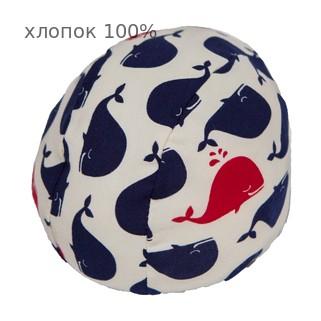 Шапочка для плавания грудничковая ЧудоТрусики ЭКРЮ КИТЕНОК С ФАТИНОВЫМ БАНТОМ, материал - хлопок 100%, цвет - белый, синий